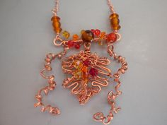 Thanksgiving Jewelry Handmade Fall Leaf Necklace in Copper and Fall Colors of Red, Yellow, Orange and Brown.