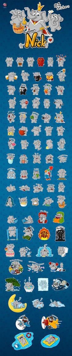 Elephants Nick. set 82 stickers on Behance