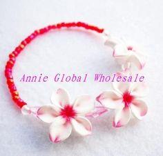Caliente brazalete de venta/de arcilla de polímero pulsera/hawai plumeria flor elástica pulseras de envío gratis