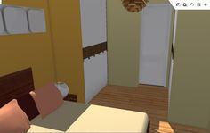Vista del dormitorio hacia el baño, con la zona de vestidor.