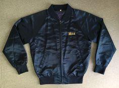 KOREA SUKAJAN JACKET Vtg SATIN Embroidered Sewn Tiger Tourist Coat Blue M/L #Unbranded #FlightBomber