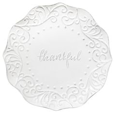"""Thankful"" White Stoneware Plate, 9"""