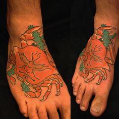Horisada Irezumi, Japanese Prints, Body Tattoos, Watercolor Tattoo, Crabs, Instagram, Artists, Japanese Drawings, Tatoo
