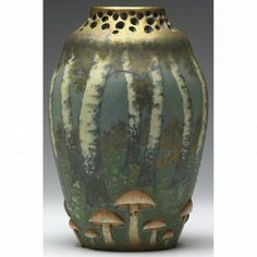Paul Daschel Amphora vase with birch trees and mushrooms