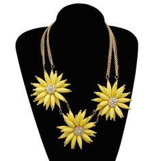 aisy Flower Inlay Rhinestone Pendant Statement Necklaces