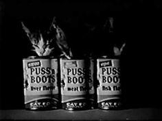 Classic PUSS N BOOTS cat food jingle commercial Commercial Advertisement, Advertising, Old Commercials, Vintage Television, Old Ads, Vintage Cat, Vintage Artwork, Cat Food, Pet Products