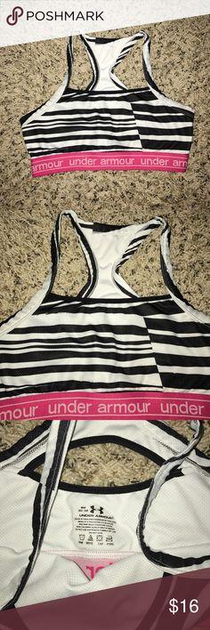 Black & White stripe under armour bra. Size S. Black & White stripe under armour bra. Size S. Light wear throughout. Under Armour Intimates & Sleepwear Bras