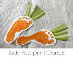 Spring Footprint Art {Bunny and Carrots} - onekriegerchick Camping Crafts For Kids, Cute Kids Crafts, Camping With Kids, Kids Camp, Abc Crafts, Preschool Crafts, Easter Projects, Easter Crafts, Holiday Lights