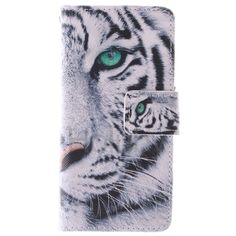 Quermuster Wallet Magnetic Schlag-Standplatz TPU   PU-Leder Tasche für iPhone 5S 5 Weiß Tiger