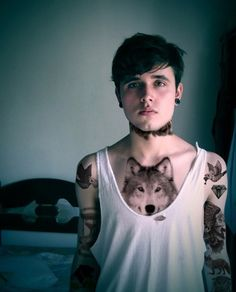 Chest Wolf Tattoo  | Cuded
