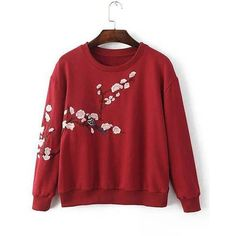 Yoins Burgundy Pullover Random Floral Embroidery Pattern Sweatshirt ($25) ❤ liked on Polyvore featuring tops, hoodies, sweatshirts, burgundy, floral print tops, red top, sweater pullover, floral print sweatshirt and red crew neck sweatshirt