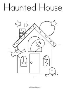 Haunted House Coloring Page From TwistyNoodle