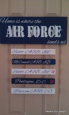 Home is Where the Air Force Sends Us  Air by MeyersVinylDesigns, my fav! Can't wait to get this order! They cab even add the deployment locations with a yellow ribbon to honor our soldier.