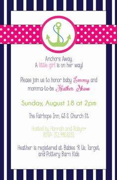 Navy, Pink, and Green Girl Nautical Baby Shower Invitation with Anchor K FAVORITE