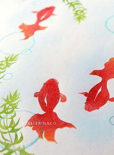 消しゴムはんこ「金魚」 Stamp Carving, Studio Art, Japanese Design, Surface Pattern Design, Mask Design, Art Studios, Habitats, Packaging Design, Watercolour