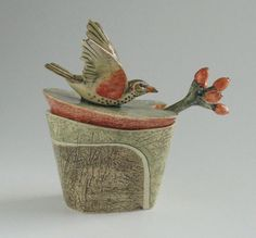 Lidded serving/condiment pot with bird handle, branch spoon.