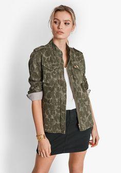 Camo Military Jacket | Ladies Military Jacket | hush Denim Mini Skirt, Mini Skirts, Camo Print Jacket, Military Jacket Women, Light Denim, Hush Hush, Black Denim, Jackets For Women, Blue And White