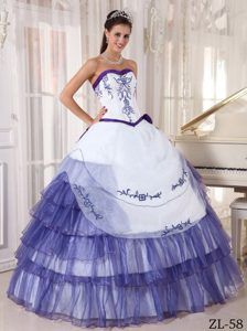Discount Sweetheart White and Purple Sweet Sixteen Gowns with Embroidery