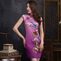 2016 New Summer Fashion Improved Cheongsams Retro Chinese Dresses Slim lady Short Dress Chinese Traditional Style qipao CS37