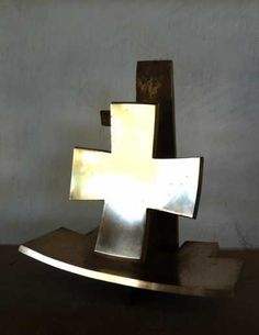 #Bronze #sculpture by #sculptor Colin Figue titled: '2nd Order of Cross (Small Contemporary Indoor statue)'. #ColinFigue