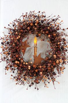 Primitive Berry Door Wreath, Earth Tones, Country Berries, Primitive Candle, Rustic Stars, Primitive Country Decor -- FREE SHIPPING