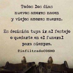 Todos los días nuevos amores nacen y viejos amores mueren. Es decisión tuya ir al festejo o quedarte en el funeral para siempre. #frases