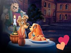 Lady and the Tramp themed dinner menu