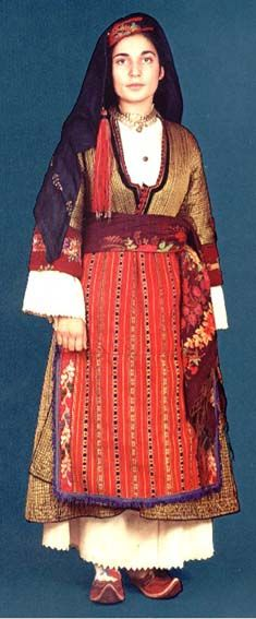 Traditional festive costume from Chalkidiki (northern Greece), ca. Vintage Clothing, Vintage Outfits, Greek Costumes, Female Clothing, Ethnic Dress, Folk Costume, Macedonia, Traditional Dresses, Greece