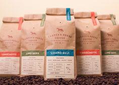 Christopher Caldwell - Farmer's Horse Coffee - World Brand Design Spices Packaging, Kraft Packaging, Coffee Packaging, Coffee Branding, Coffee Labels, Beverage Packaging, Bottle Packaging, Beer Labels, Food Branding