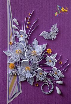 Neli is a talented quilling artist from Bulgaria. Her unique quilling cards bring joy to people around the world. Neli Quilling, Quilling Butterfly, Quilling Work, Paper Quilling Flowers, Paper Quilling Patterns, Quilled Paper Art, Quilling Paper Craft, Paper Crafts, Quilling Images