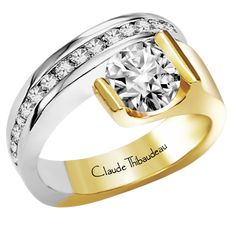 PLT-2200 18Kt Yellow Gold & Platinum by Claude Thibaudeau