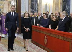 King Felipe and Queen Letizia, Former King Juan Carlos and Queen Sofia, infantas Elena, Cristina, Pilar and Margarita attended the funeral of infanta Alicia de Borbon-Parma, Duchess of Calabria at the chapel of the Royal Palace on May 11, 2017 in Madrid. Duchess of Calabria died at the age of 99 on 28 March 2017.