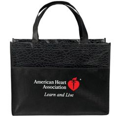 """- 105 GSM gloss laminated tote - Large non-woven polypropylene pocket on front - 18"""" handles"""
