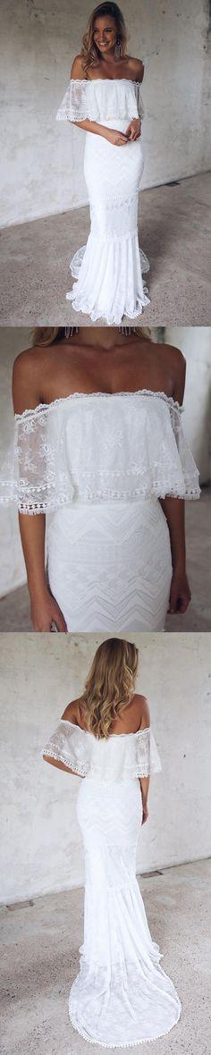 Long Wedding Dress, Lace Wedding Dress, New Arrival Bridal Dress, Off-shoulder Wedding Dress, Floor-Length Wedding Dress, Unique Wedding Dress, White Wedding Dress, LB0595
