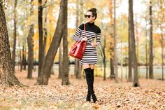 Autumn Colors :: Red coat & Striped dress : Wendy's Lookbook