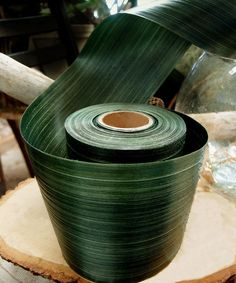 Dark Green Water Resistant Leaf Ribbon | Artificial Flowers | Afloral.com