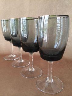 Gorham Midnight Mist Smoke Wine Glasses Platinum by DotnBettys