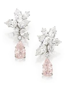 Pair of fancy pink diamond pendant earrings • Image: Sotheby's