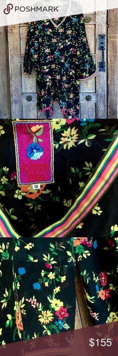 """🎶PLUS SIZE Johnny Was Asymmetrical Floral Tunic Light & Airy, Bold & Delicious! 100% Cotton, Very Gently Used, Johnny Was Tunic with the kind of quality & detailing you've come to expect! V-Neck Collar & Wide Cuffs done in contrasting pinstripe of Lime, Coral, Turquoise, Kelly & Charcoal. Oh, but the Hem! - It's got, not only longer, points on the sides, 8"""" Up, there's a seam, at which point a coordinating fabric """"handkerchiefs out"""" a bit - another """"Tad"""" of flare! Length 36"""" Shortest to 44""""…"""