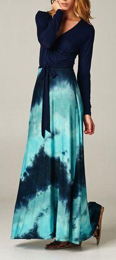 Limited Edition Blue Sea Print Velvet Long Sleeves Maxi Dress - Choies.com