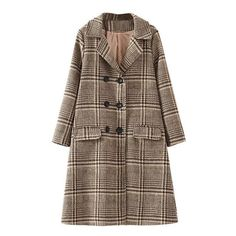 Khaki Plaid Double Breasted Coat ($60) ❤ liked on Polyvore featuring outerwear, coats, brown coat, plaid coat, khaki coat, double-breasted coat and tartan coat