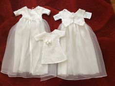 3 gowns made from communion dress