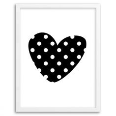 Polka Dot Heart Wall Art (Black)