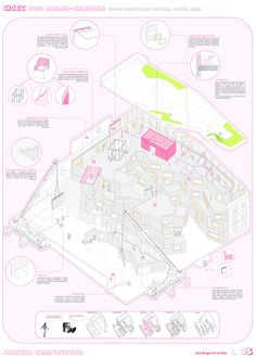 Architecture graphic design about the construction process. China-Spain Intercultural Center. Architecture final thesis. Elsa Burgos de la Prida Architect.                                                                                                                                                                                 Más