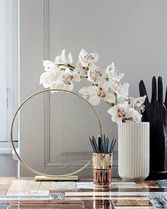 Beautiful decoration with the Lyngby vase in white. Decor, Interior Decorating, Home Accessories, Elle Decor, Home, Arrangement, South Shore Decorating, Interior Styling, Home Decor