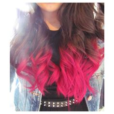 FULL HEAD // hot pink dip dye // ombre hair // clip in extensions // (10pcs) ($145) found on Polyvore