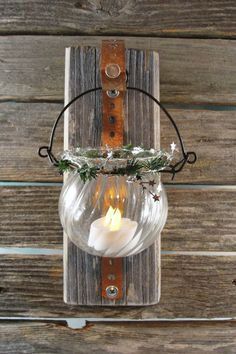 repurposed wood tealight candle vase hanger by EnchantingGardenArt