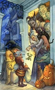 Halloween; creatures handing out candy to children in costume