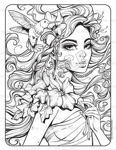 Muse Adult Coloring Page Barbie Coloring Pages, Fairy Coloring Pages, Free Adult Coloring Pages, Printable Coloring Pages, Coloring Books, Coloring Sheets, Kids Coloring, Hand Coloring, Detailed Coloring Pages