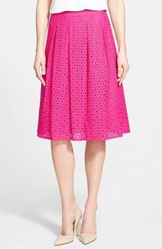 Halogen® Eyelet Pleat Front Skirt (Regular & Petite)